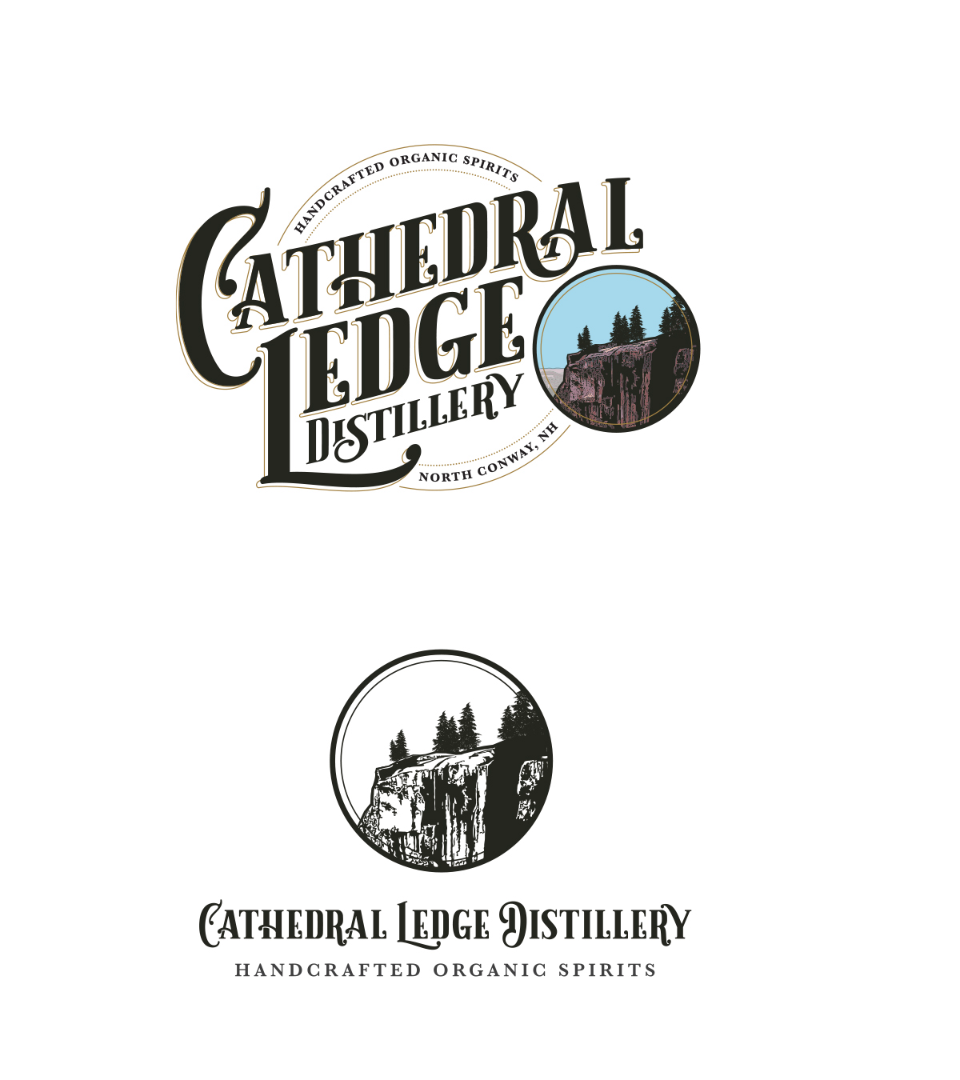 Cathedral Ledge Distillery on white background