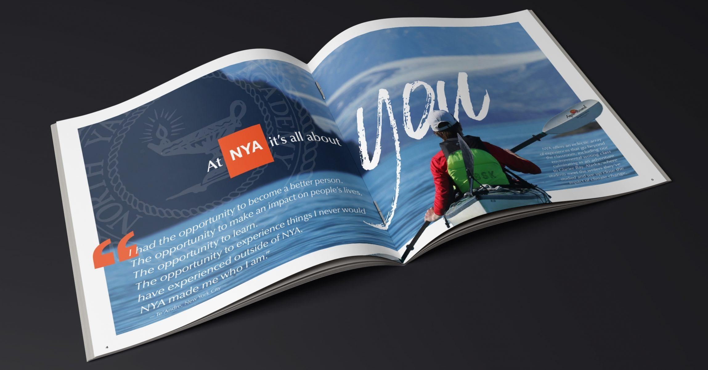 2021 NYA Viewbook Mockup Sea kayak background with text At NYA it's all about you
