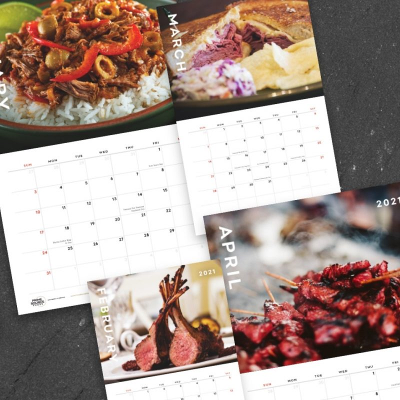 January - pulled pork over rice, February - corned beef sandwhich, March - rack of lamb, April - beef skewers