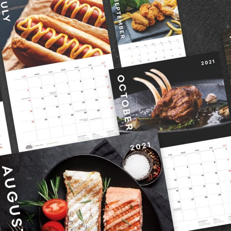 July - hot dogs with mustard, August - grilled salmon, September - chicken fingers with fries, October - grilled lamb with garlic