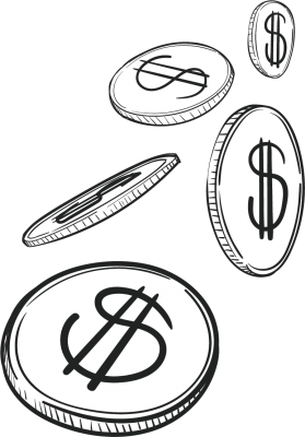 Coins in black and white doodle style