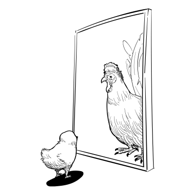 Doodles 0033 chick inthemirror