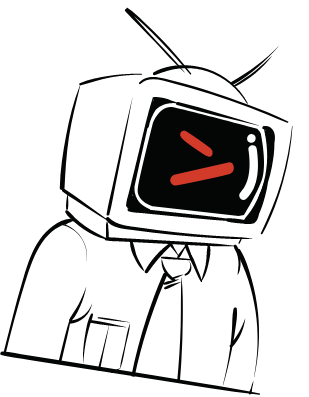 TV Head doodle with Red Drive icon